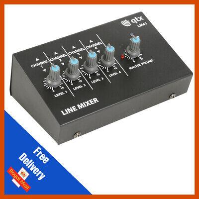 QTX LM41 4ch Mono Mini Mixer Line Level Studio Karaoke DJ Recording Mono Mini Mixer