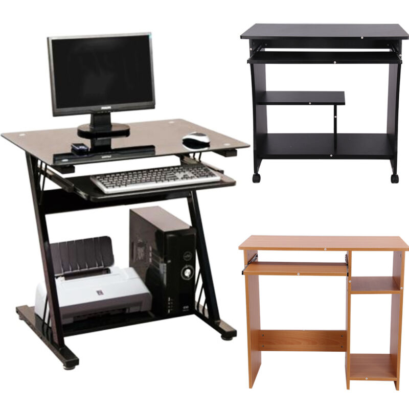 wooden glass computer desk basic home office table workstation wood pc laptop ebay