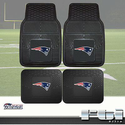 New England Patriots NFL Heavy Duty Vinyl 2-Pc & 4-Pc Floor Car Truck Mat -
