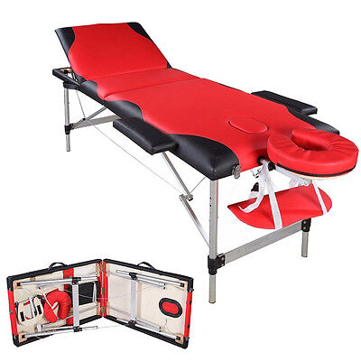3 Fold Aluminum Frame Massage Table Health Facial Bed Carry Case Black&red
