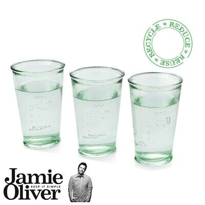 Jamie Oliver Drinking Water Glasses Tumbler Set of 3 Transparent Recycled Glass