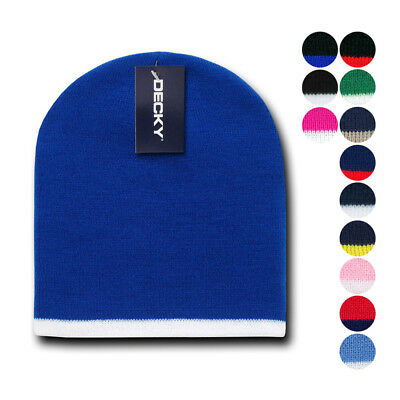 - Decky Single Striped Two Tone Beanies Knitted Ski Skull Caps Hats Warm Winter