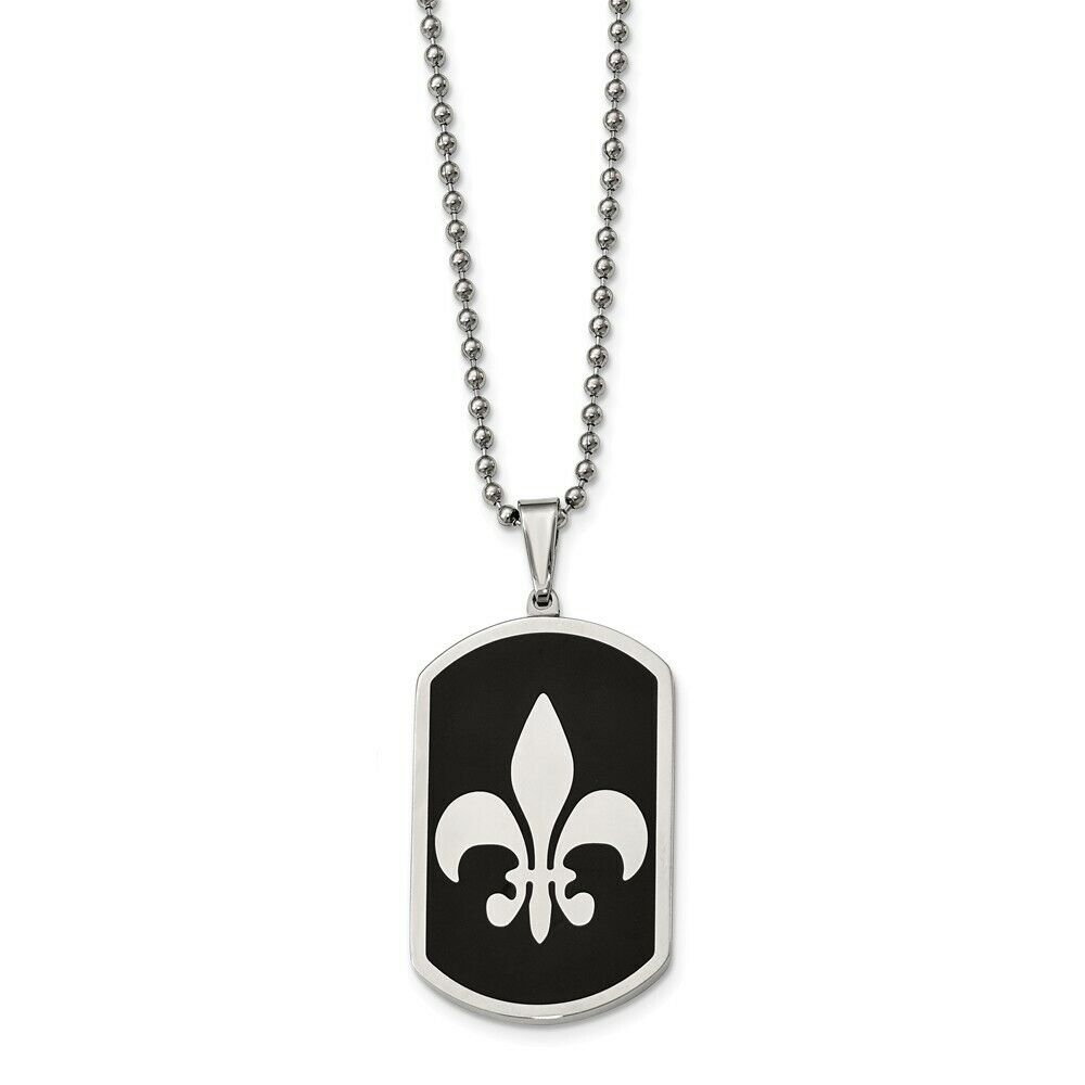 Stainless Steel Black Carbon Fiber Inlay Fleur De Lis Necklace 36x26mm 13.25gr