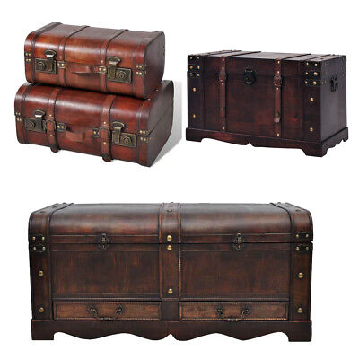 Large Wooden Brown Treasure Box Storage Chest Trunk Coffee Table Home Furniture Treasure Box Chest Trunk