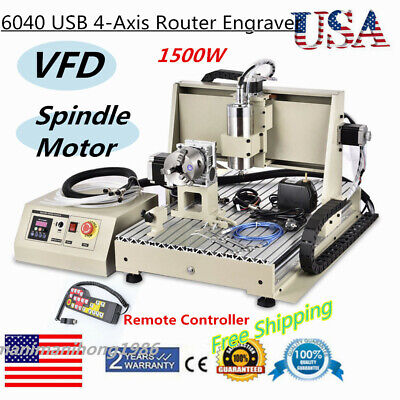 6040 Usb 4-axis Router Engraver 1500w Vfd 3d Metal Wood Carving Milling Machine