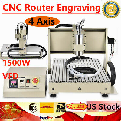 Usb 4 Axis Cnc Router 6040 Engraver Machine Diy Pcb Wood Metal Carving Kit 1500w