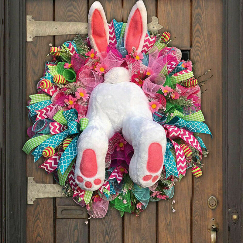 2021 Easter Rabbit Wreath Decor Bunny Butt and Ears Wreath for Front Door LOTS