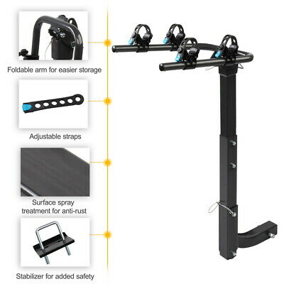 """Details about  /New 2//3//4 Bike Rack Hitch Mount Folding Bicycle Carrier 2/"""" Receiver Car SUV"""