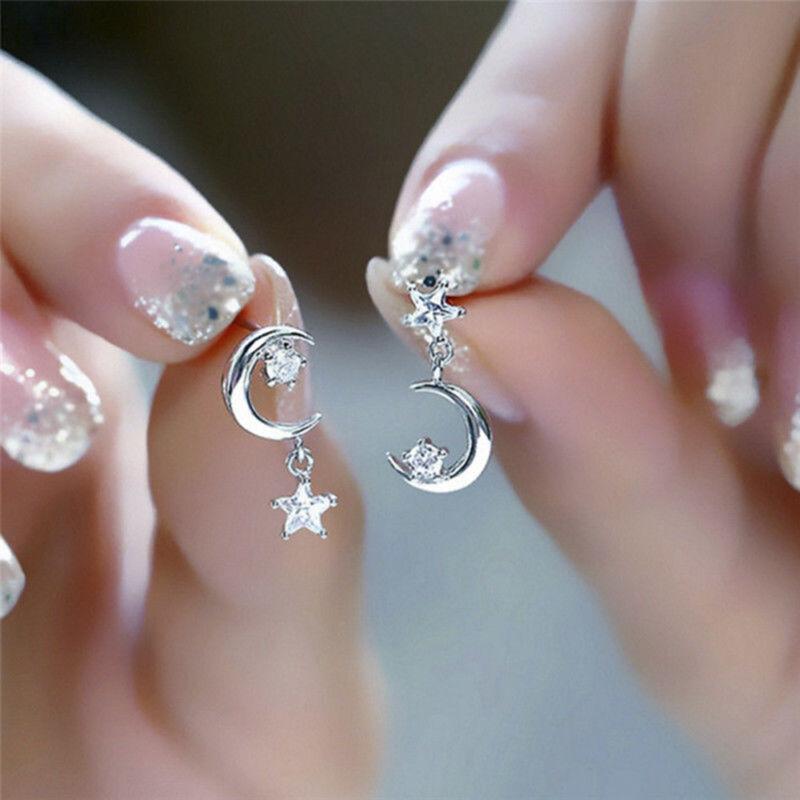 Silver Plated Crystal Earrings Star Moon Drop Dangle Earring