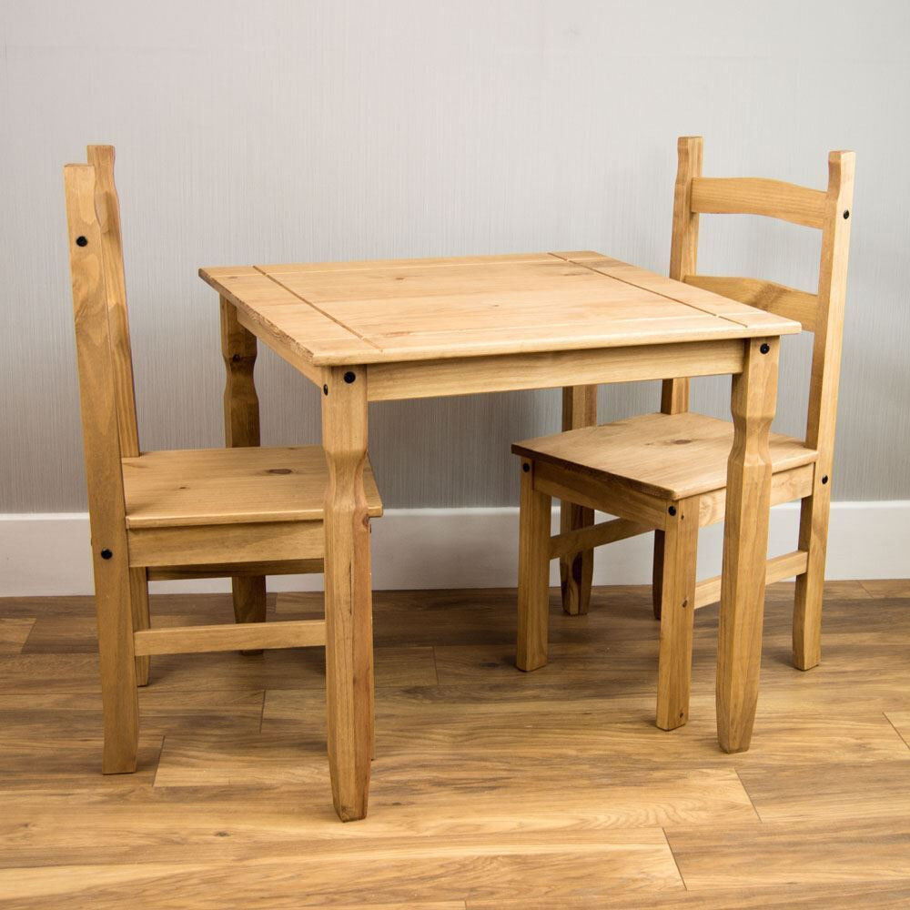 Corona dining set 2 seater chairs table solid pine wood mexican furniture