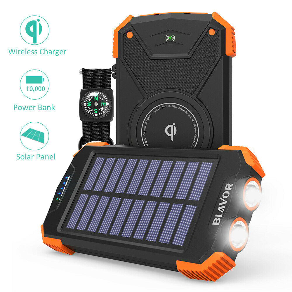 Wireless charging Solar Power Bank 10000mAh witth compass an