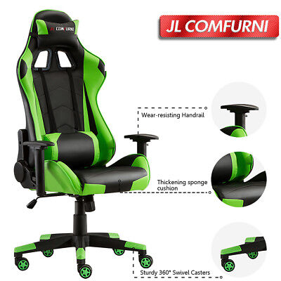 JL Comfurni Reclining Office Gaming Chair Racing Sport Lift Computer Desk Swivel