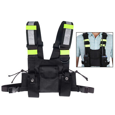 Adjustable Walkie Talkie Radio Chest 3 Pocket Pouch Holster Harness  Carry Bags