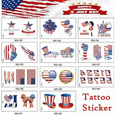 11 Sheets/set USA Flag Premium Waterproof Temporary Tattoo, United States Day - $20.38