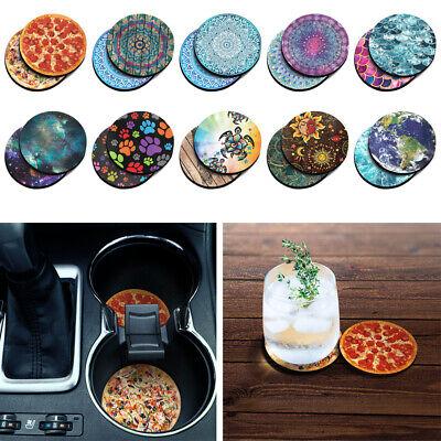 "2pc Set Mermaid Scales 2.87"" Round Neoprene Fabric Felt Car Coasters For Cup Mug"