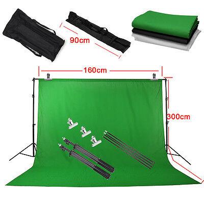 1.6X3m Photo Studio Photo Screen Black White Green Background Backdrop Stand Kit