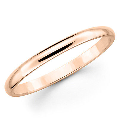 10k Solid Rose Pink Gold 2mm Plain Men's And Women's Wedd...