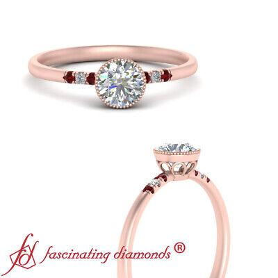 1/2 Carat Round Cut Diamond And Ruby Gemstone Bezel Set Milgrain Engagement Ring