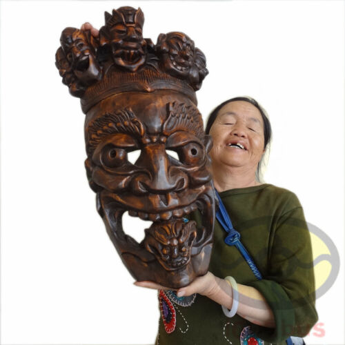 """Chinese Wood Hand Carved Exorcising NUO MASK Walldecor-Tāo Tiè(Glutton) tall 20"""""""