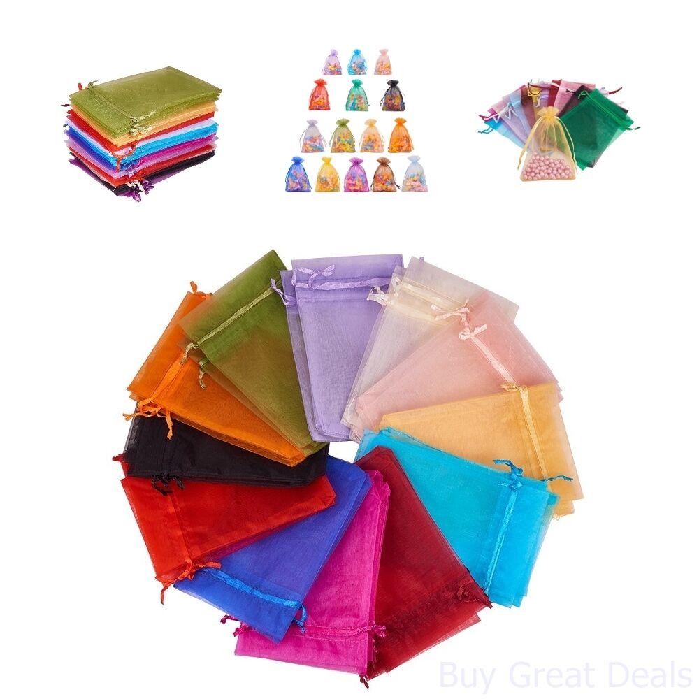 Pandahall 200PCS 4x6 Inches Mixed Color Organza Gift Bags wi