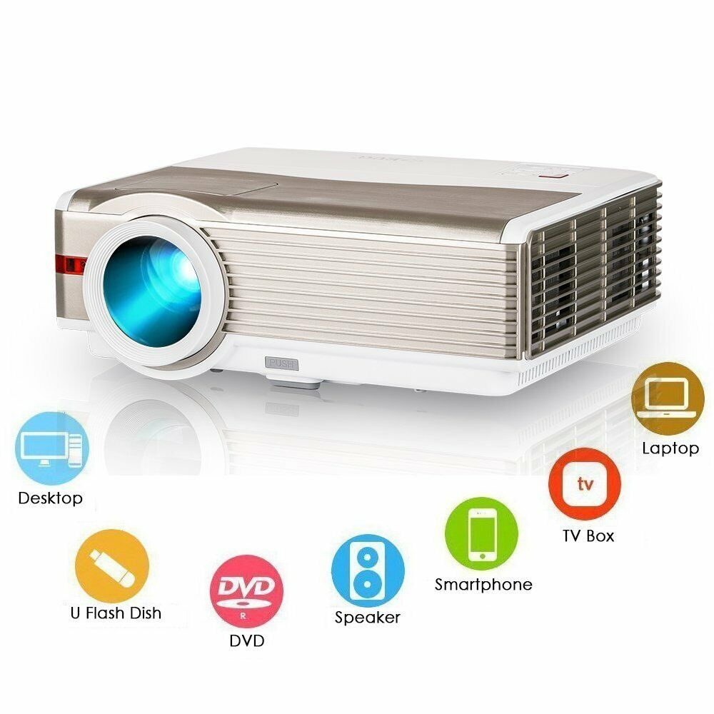 HD 8000lms LED Video Projector 1080p Home Theater Backyard P