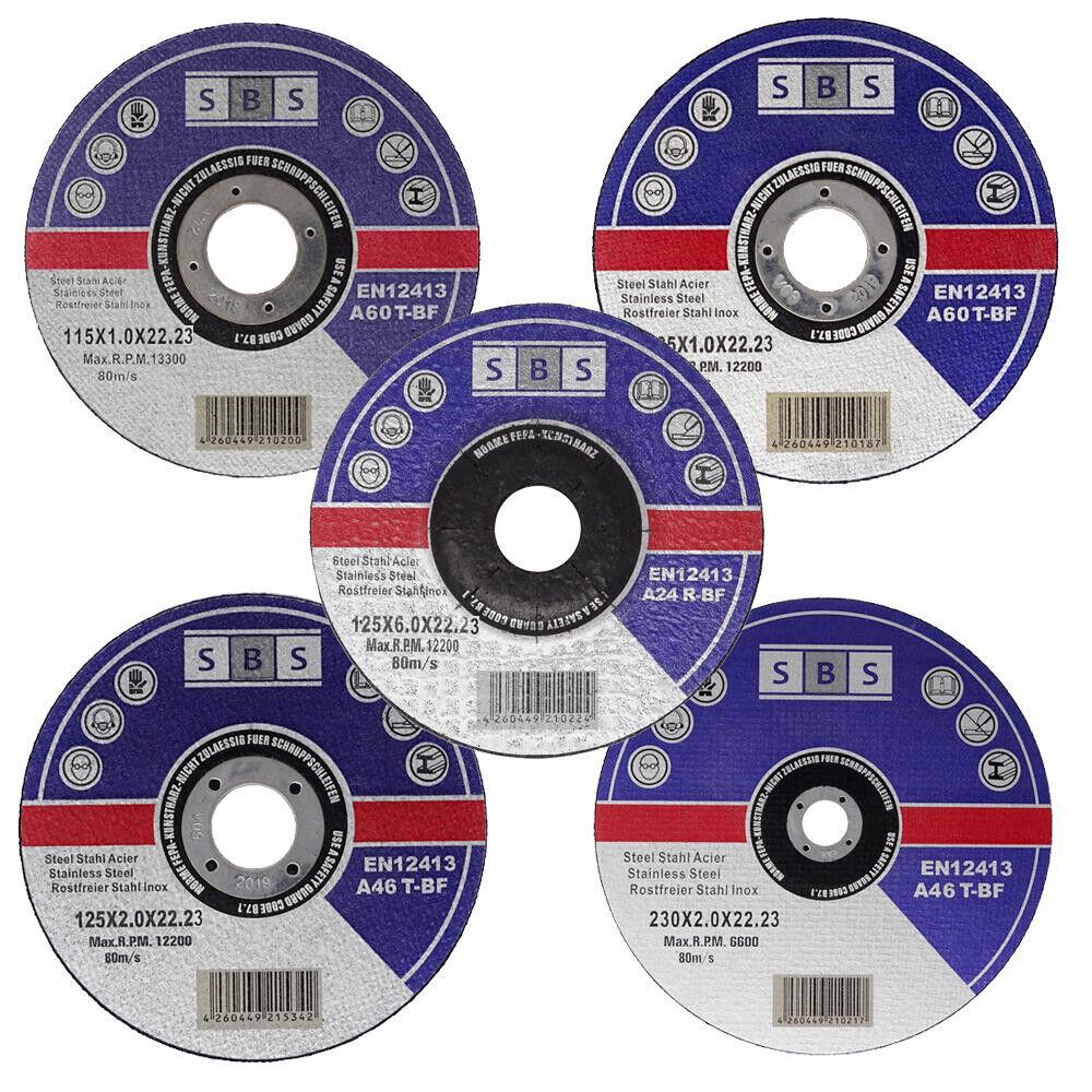 SBS® Schruppscheiben/Trennscheiben Ø115/125/230mm Schleifscheiben Metall Inox