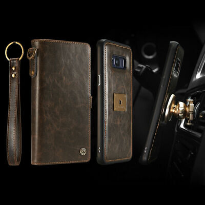For Samsung Note 10 Plus Car Magnetic Holder Removable Leather Wallet Case -