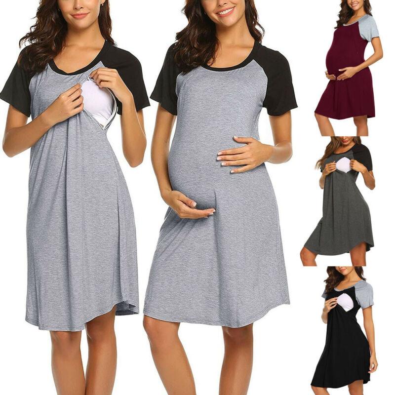 Women Mom Pregnancy Maternity Nursing Splice Short Sleeve Dress Sleepwear Pajama