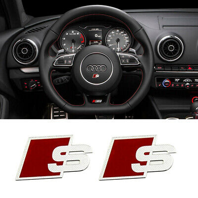 2X Audi Steering Wheel Logo Sticker Remote Key Badge fit S A4 S4 A6 Q7 QUATTRO