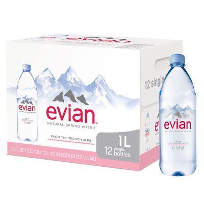 evian Natural Spring Water 12 Individual 1 Liter 33.8 Ounce Large Bottles