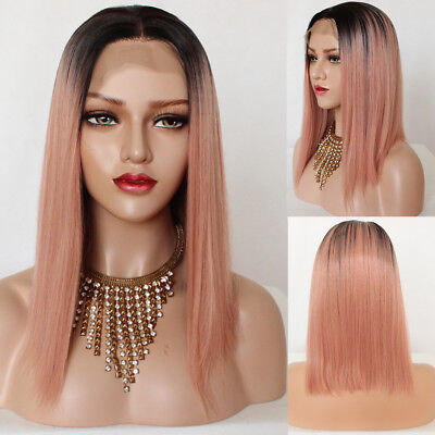 Short Bob Synthetic Lace Front Wig #1b/Pink Ombre Heat Resistant Synthetic Wigs - Short Pink Wigs