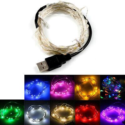 USB Plug LED Lichterkette Micro Silver Wire String Light Valentine Party Decor