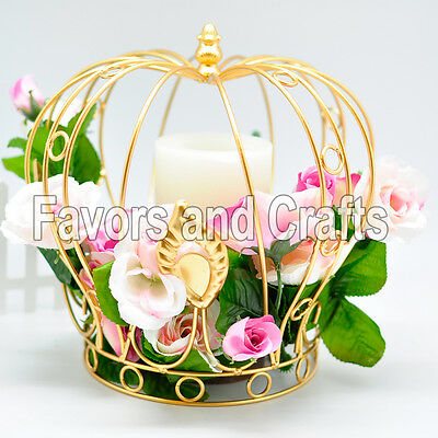Crown Wedding White Gold Wedding Centerpiece Corona Centro de Mesa Quinceanera](Quinceanera Table Decorations Centerpieces)