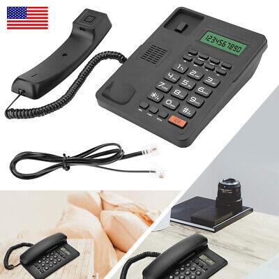 Home Office Corded Phone Caller ID Landline Table Desktop Fixed Telephone Black