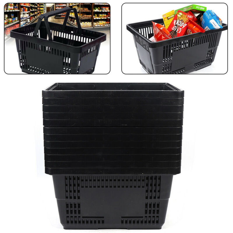 Handheld Shopping Baskets Shopping Totes Plastic with Handles Set of 12 Durable