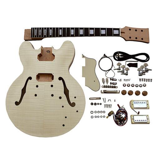 Coban Guitars DIY Kit ES230 Flamed Maple Veneer Chrome Hardware Cream Fittings