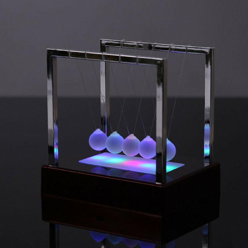 Newtons Cradle Fun Steel Balance Balls Physics Science Desk Toy LED Light