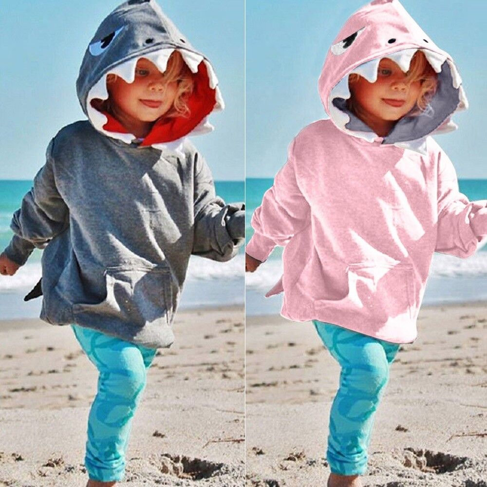 Toddler Kids Baby Boys Girls Long Sleeves 3D Cartoon Hoodie Shark Tops Clothes