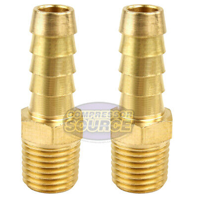 2 Pack 38 X 14 Mnpt Pipe Thread Brass Air Hose Barb Fitting For 38 Hose
