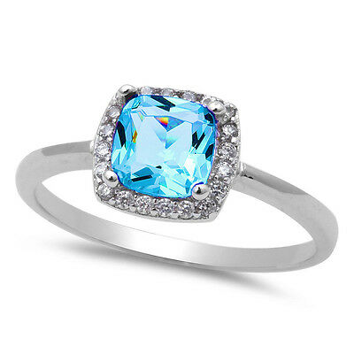 Blue Topaz & CZ Fashion .925 Sterling Silver Ring Stone Size