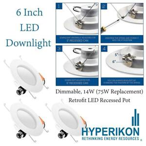 Hyperikon 6 Inch LED Downlight (5 Inch Compatible), Dimmable, 14W (75W Replacement), Retrofit LED Recessed Pot, 2700K...