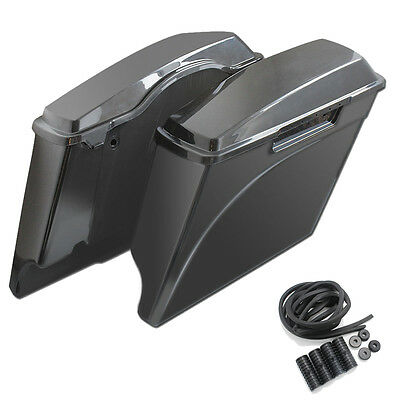 "4"" Extended Saddlebags Unpainted Stretched Saddle Bags For Harley Touring 94-13"