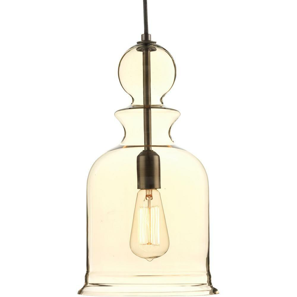 Staunton Collection 1-Light Antique Bronze Pendant with Champagne Glass