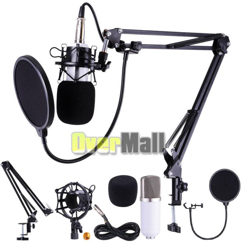 PROFESSIONAL Audio Condenser Microphone Kit Vocal Studio Recording Set Stand USA