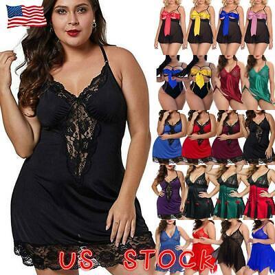 Plus Size Women Sexy Lingerie Babydoll Nightdress Sleepwear Chemise Nightwear US