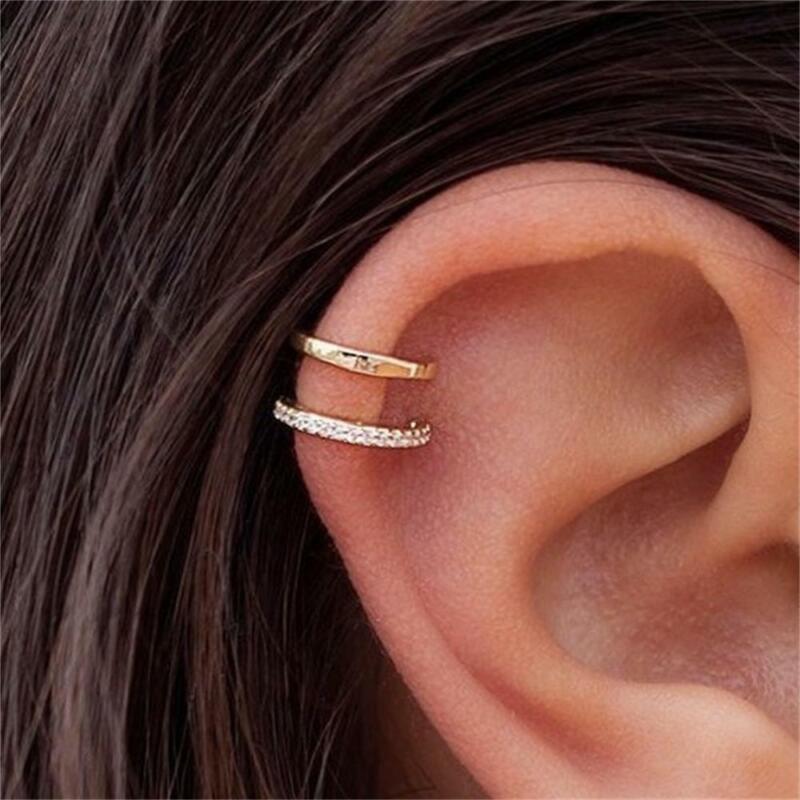 Double Band Ear Cuff Rhinestone Ear Clip No Piercing Earring