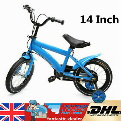 14 Inch Childrens Bicycle Kids Bike Blue With Training Stabilisers Boys Girls