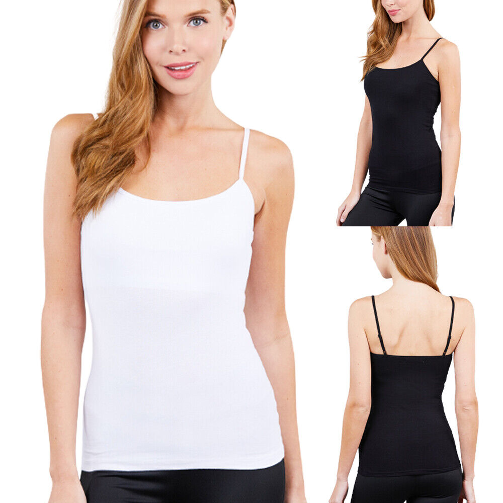 Women Short CAMI Camisole with Adjustable Spaghetti Strap Layer Tank Top Casual Clothing, Shoes & Accessories