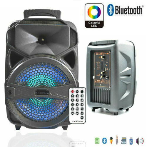 "12"" Portable Bluetooth Party DJ Karaoke PA Speaker 3000W Rec"
