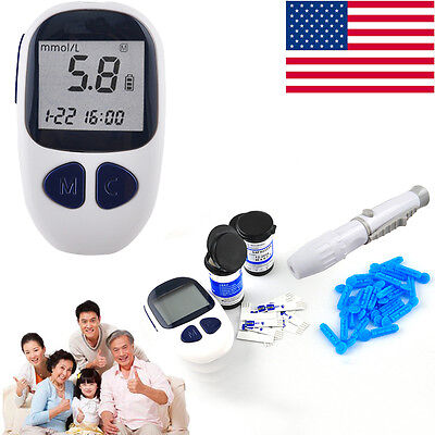 Blood Glucose Meter Monitor  50 Free Test Strips Lancets Diabetes Complete Kit